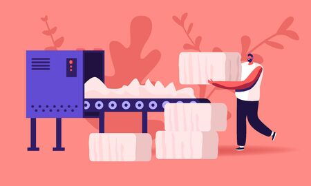 Man Textile Factory Worker Put Raw Cotton Material on Conveyor Belt for Pressing and Making Bales in Blow Room of Carding Department in Sewing Plant. Fiber Industry Cartoon Flat Vector Illustration