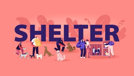 Rehabilitation or Adoption Center for Stray Pets Concept. Kind People Help Homeless Animals. Men and Women Adopting Pet from Shelter Poster Banner Flyer Brochure. Cartoon Flat Vector Illustration