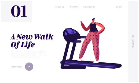 Active Sport Life Website Landing Page. Woman Running on Treadmill. Athletic Girl in Sportswear and Sneakers Exercising to be Slim. Fitness Lifestyle. Web Page Banner. Cartoon Flat Vector Illustration