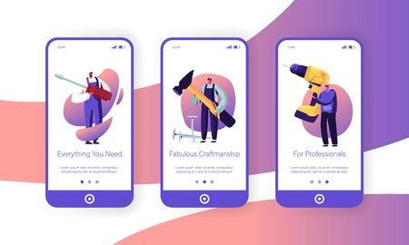 Male Characters with Tools Mobile App Page Onboard Screen Set. Handymen Holding Huge Drill, Screwdriver and Hammer. Repair Call Service Concept for Website or Web Page Cartoon Flat Vector Illustration