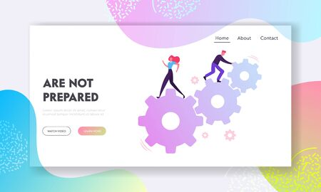 Team Work in Gears Mechanism Website Landing Page. Business People Engaged in Business Direction to Successful Path Moving Huge Cogwheel Machine Web Page Banner. Cartoon Flat Vector Illustration