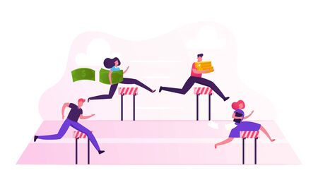 Business People Characters Obstacle Race. Managers Holding Money and Documents Jumping over Barriers on Stadium Running by Row. Leadership, Colleagues Steeplechase. Cartoon Flat Vector Illustration