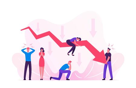 Sad Business People around Decline Red Arrow Chart. Business on Falling Down Graph. Financial Fail Risk Problem. Management Failed Achieve Profit, Economic Recession. Cartoon Flat Vector Illustration 矢量图像