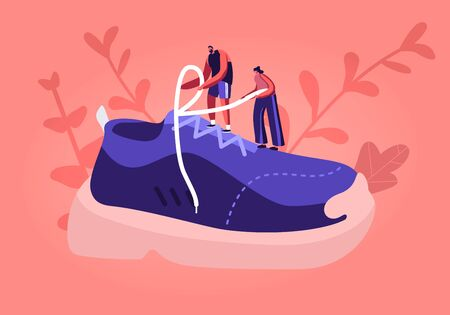 Sportswear and Shoes for Training Fashion Concept. Tiny Sportsman and Sportswoman Characters Tie Shoelaces on Huge Sneaker. People Buying and Wearing Sportive Footgear Cartoon Flat Vector Illustration Çizim