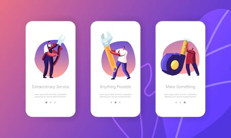 Diy Repair Mobile App Page Onboard Screen Set. Handymen with Scale Tape, Wrench and Pliers. Engineering Construction, House Renovation Concept for Website or Web Page, Cartoon Flat Vector Illustration