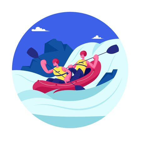 Kayaking or Rafting Sport Competition. Sportsmen Rowing in Kayaks at Rocky Shore. Wild Nature and Water Fun on Summer Vacation. Tourists Company Extreme Activity. Cartoon Flat Vector Illustration