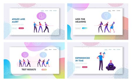 Opposite Groups Arguing, Business Competition Website Landing Page Set. People Pulling Rope Fighting in Office or Company, Corporate Rivalry Battle Web Page Banner. Cartoon Flat Vector Illustration