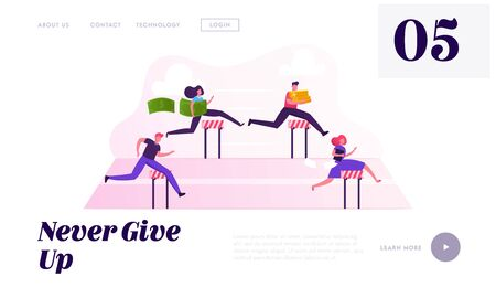 Business People Obstacle Race Website Landing Page. Managers Holding Money and Documents Jumping over Barriers on Stadium. Leadership Steeplechase Web Page Banner. Cartoon Flat Vector Illustration Illustration