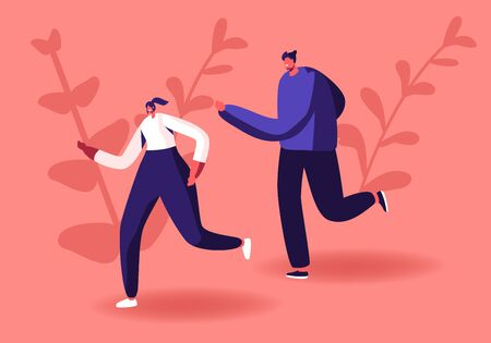 Happy Couple Man and Woman in Sportswear and Sneakers Running Marathon on Nature Background. Summertime Outdoor Sport Activity. Jogging and Sport Healthy Lifestyle. Cartoon Flat Vector Illustration Ilustração