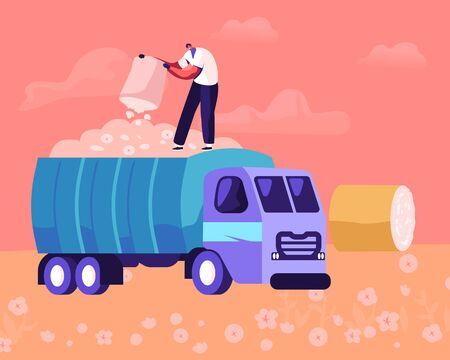 Man Pouring Ripe Cotton Flowers to Harvesting Industrial Machine on Field. Laborer Collecting Plants on Meadow with Hay Rolls around. Textile Production Manufacture Cartoon Flat Vector Illustration 일러스트
