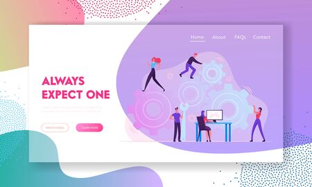 Working Routine Process, Teamwork Website Landing Page. Characters Moving Huge Gear Mechanism Using Wrench, Feet and Arms. Woman Manage Cogwheel at Pc Web Page Banner. Cartoon Flat Vector Illustration