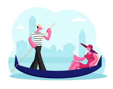 Happy Woman Sitting in Gondola with Champagne Glass in Hand, Man Gondolier Floating Boat at Canal in Venice. Female Tourist Having Trip or Romantic Tour to Italy. Cartoon Flat Vector Illustration
