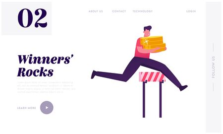 Successful Business Man Running Competition Website Landing Page. Leader Businessman Holding Huge Pile of Golden Coins Jump over Barriers, Leadership Web Page Banner. Cartoon Flat Vector Illustration
