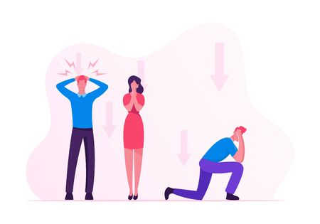 Shocked Businesspeople Feeling Failure and Frustrated With their Work. Stressed Business People Holding Head and Close Mouth Trying not to Cary cos of Financial Crisis Cartoon Flat Vector Illustration Ilustração