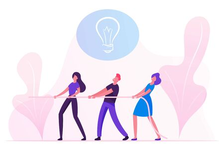 Group of Businesspeople Pulling Rope with Light Bulb Icon above Head. Business Team Fighting for Creative Idea Development in Office or Corporate Company, Tug of War Cartoon Flat Vector Illustration