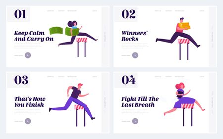 Race for Leadership Website Landing Page Set. Colleagues Corporate Competition. Business People Running with Barriers on Stadium to Career Success Web Page Banner. Cartoon Flat Vector Illustration