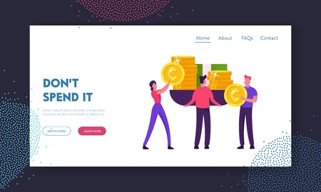 Monetization, Increasing Financial Capital Wealth Website Landing Page. Business People Put on Huge Scales Golden Coins and Banknotes Weighing Money Web Page Banner. Cartoon Flat Vector Illustration