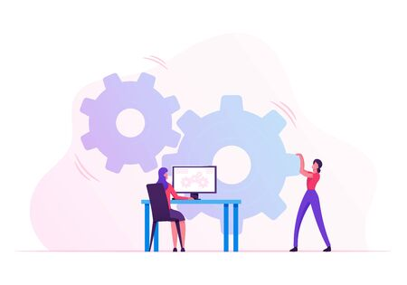 Woman Moving Huge Cogwheels Mechanism with Hands, Businesswoman Sitting at Desk with Computer Managing Process on Pc Screen. Development and Innovation in Business. Cartoon Flat Vector Illustration