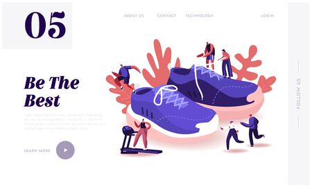 People Wearing Sneakers Website Landing Page. Sportsmen and Sportswomen Training in Gym and Outdoors in Sport Shoes, Walking around Huge Footwear Web Page Banner. Cartoon Flat Vector Illustration
