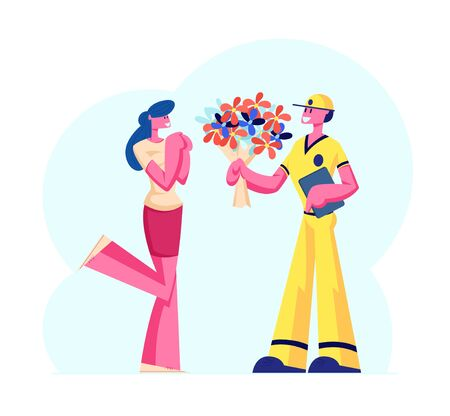 Cute Surprised Girl Happy to Get Bouquet of Beautiful Flowers from Deliveryman. Boyfriend Sending Present to Girlfriend. Love, Couple Loving Relation, Delivery Service Cartoon Flat Vector Illustration