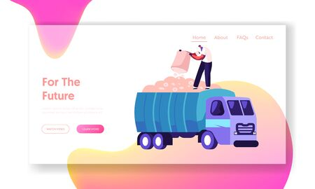 Laborer Collecting Plants on Meadow Website Landing Page. Man Pour Ripe Cotton Flowers to Harvesting Industrial Machine on Field. Textile Manufacture Web Page Banner. Cartoon Flat Vector Illustration