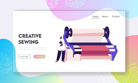 Textile Machinery Manufacture Website Landing Page. Factory Worker near Controlling Panel of Weaver Loom Creating Cloth. Plant Facilities, Equipment Web Page Banner. Cartoon Flat Vector Illustration  イラスト・ベクター素材