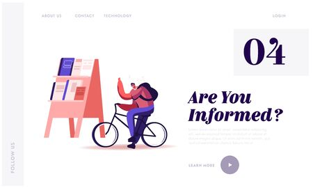 Man Selling Newspapers on Street Website Landing Page. Salesman Character Ride Bike with Rucksack on Back Offering Press Social Media Publications Web Page Banner. Cartoon Flat Vector Illustration