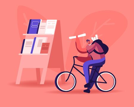 Young Man Selling Newspapers on Street. Salesman Character Ride Bike with Rucksack on Back Offering Press Social Media Publications to People, Information Distribution Cartoon Flat Vector Illustration