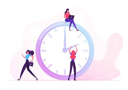 Businesswomen around of Huge Clock. Business Woman Sitting on Top with Laptop, Moving Arrows on Dial. Teamwork, Deadline, Time Management in Working Process Concept. Cartoon Flat Vector Illustration 일러스트