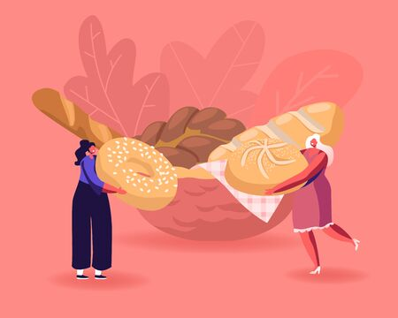 Tiny People Eating or Cooking Bakery Food Enjoying Homemade Flour Production. Female Characters Interacting with Huge Sweet Bun and Donut, Fresh Bread Lying on Plate. Cartoon Flat Vector Illustration