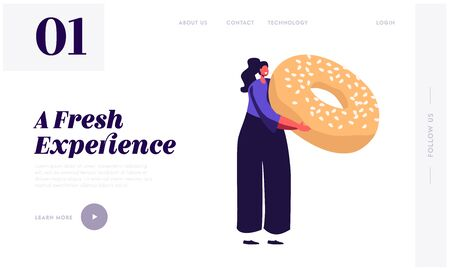 Girl Enjoying Pastry and Bakery Product Website Landing Page. Tiny Woman Eating Sweet Food Production. Female Character Hold Huge Donut with Sprinkles Web Page Banner. Cartoon Flat Vector Illustration