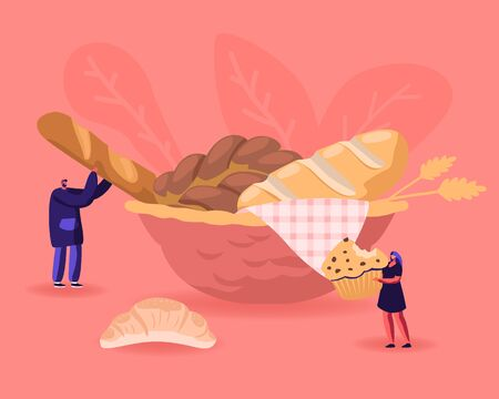 Bakery, Flour Products, Sweet Food Concept. Tiny Woman Holding Huge Cupcake with Chocolate Sprinkles. Pastry Muffin Treat Confectionery Man Take Fresh Bread from Plate Cartoon Flat Vector Illustration