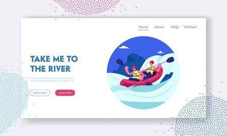 Kayaking or Rafting Sport Competition Website Landing Page. Sportsmen Rowing in Kayaks at Rocky Shore. Water Fun Tourists Company Extreme Activity Web Page Banner. Cartoon Flat Vector Illustration
