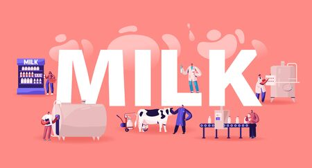 Milk Production Manufacturing Concept. Conveyor Stage Process, Dairy Food Machine Plant. Test Beverage Quality in Flask, Product Industry Poster Banner Flyer Brochure. Cartoon Flat Vector Illustration