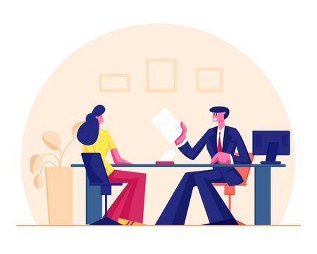 Young Woman Sitting in Bank Office Taking Loan or Mortgage in Real Estate Agency Manager Character Sit at Desktop with Document Communicate with Client Discussing Deal Cartoon Flat Vector Illustration