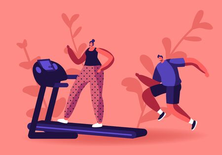 Active Sport Life. Woman and Man Running on Treadmill. Athletic Young People in Sportswear and Sneakers Exercising to be Fit and Slim. Fitness and Healthy Lifestyle Cartoon Flat Vector Illustration
