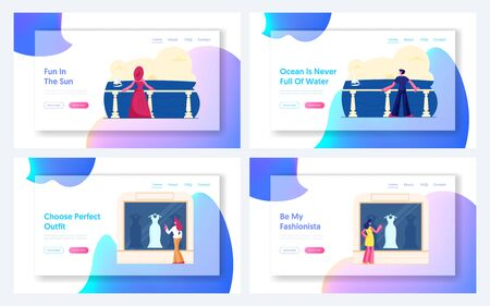 Relaxing on Sea Resort, Women Choose Dress Website Landing Page Set. People Enjoy Ocean View on Hotel Terrace, Female Characters Shopping Spare Time Web Page Banner. Cartoon Flat Vector Illustration Ilustração