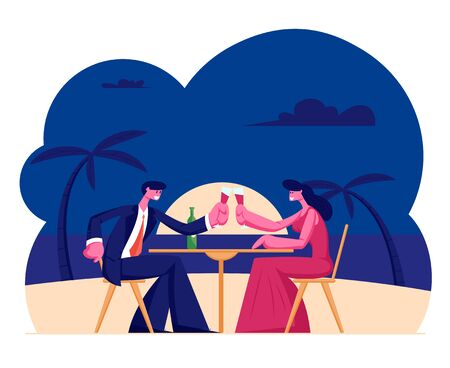 Young Loving Couple Enjoying Sunset Having Dinner at Exotic Tropical Resort with Palms on Seaside. Elegant Woman in Gown and Man Dressed in Suit Clinking Wineglasses. Cartoon Flat Vector Illustration