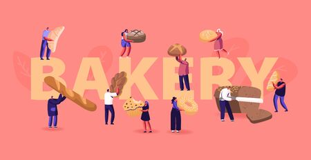 People Eating and Cooking Bakery Concept. Tiny Characters Presenting Homemade Bread and Wide Choice of Fresh Baked Production for Purchase Poster Banner Flyer Brochure Cartoon Flat Vector Illustration Ilustração