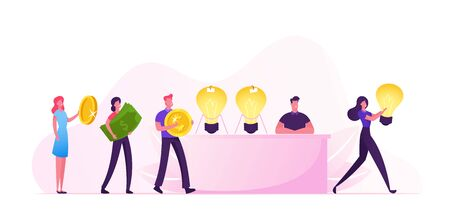 Idea Sale Concept. Businessman or Salesman Sitting at Desk with Glowing Huge Light Bulbs, Businesspeople Stand in Queue with Money in Hands for Buying Business Insight Cartoon Flat Vector Illustration