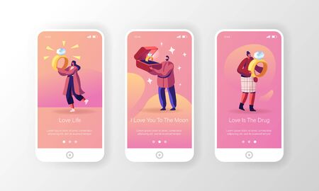 Jewelry for Engagement Mobile App Page Onboard Screen Set. Man Choose Ring for Woman Holding Huge Box with Diamond Ring. Marriage Concept for Website or Web Page, Cartoon Flat Vector Illustration Ilustração