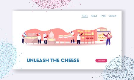 Cheese Food Production Factory Website Landing Page. Workers Make Dairy in Metal Tank, Ripening Manufacturing Equipment, Delivery for Sale in Shop Web Page Banner. Cartoon Flat Vector Illustration