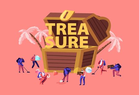 Treasure Hunting Concept. Tiny Male Female Characters with Metal Detectors Searching Hidden Chest with Gold and Jewels on Tropical Island Poster Banner Flyer Brochure. Cartoon Flat Vector Illustration