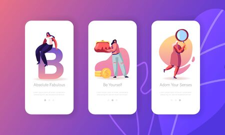 Women and their Things Mobile App Page Onboard Screen Set. Girl Hold Huge Purse with Money and Magnifying Glass. Modern Lady Accessory Concept for Website or Web Page, Cartoon Flat Vector Illustration Ilustração