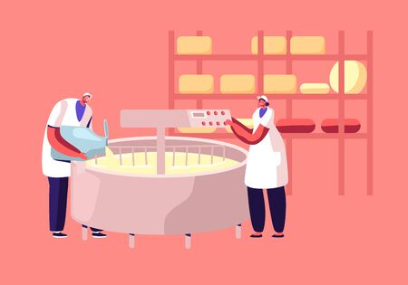 Dairy Production Industry Plant. Worker Pour Fresh Milk into Creamery on Modern Manufactory Prepare Cheese Mixing Cream in Huge Mixer. Factory Machinery Food Producing Cartoon Flat Vector Illustration