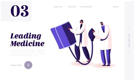 Checking Arterial Pressure Healthcare Website Landing Page. Doctors Hold Huge Digital Device Tonometer Cuff for Measuring Patient Blood Pressure Web Page Banner. Cartoon Flat Vector Illustration