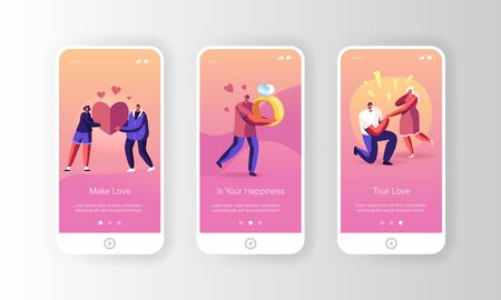 Romantic Relations and Proposal Mobile App Page Onboard Screen Set. Man Presenting Engagement Ring Asking Woman to Merry Stand on Knee Concept for Website or Web Page, Cartoon Flat Vector Illustration Ilustração