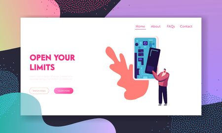 Digital Mobile Technologies Engineering Website Landing Page. Man Put Detail inside of Huge Smartphone with Open Case and Visible Microcircuit Chips. Web Page Banner. Cartoon Flat Vector Illustration Vektorové ilustrace