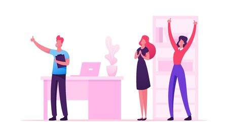 Cheerful Business People Laughing and Waving Hands Up at Office Workplace. Employee Characters Rejoice for New Project Success. Joyful Managers Colleagues Celebrating. Cartoon Flat Vector Illustration