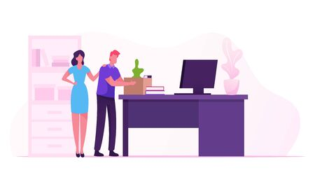 Career Failure, Dismissal Concept. Sad Worker Put Belongings in Box. Fired Employee Leaving Office with Things in Cardboard Package, Colleague Woman Supporting Man. Cartoon Flat Vector Illustration